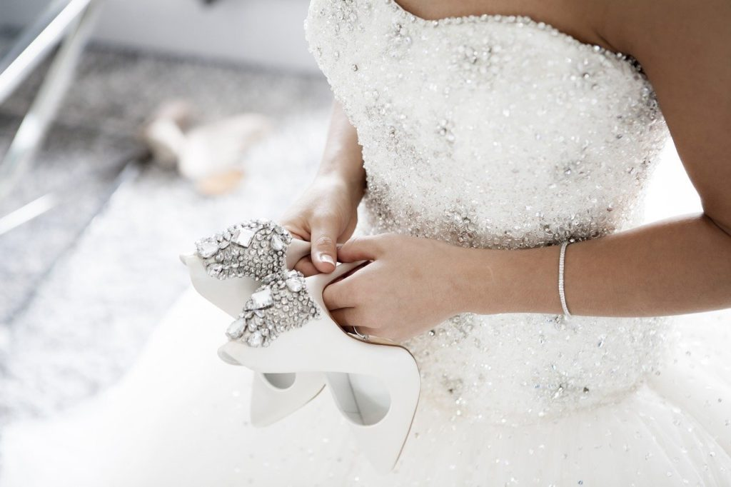 woman in fairy tale wedding dress
