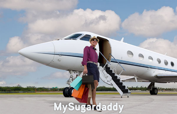 man standing in front of private jet with many shopping bags after shopping spree