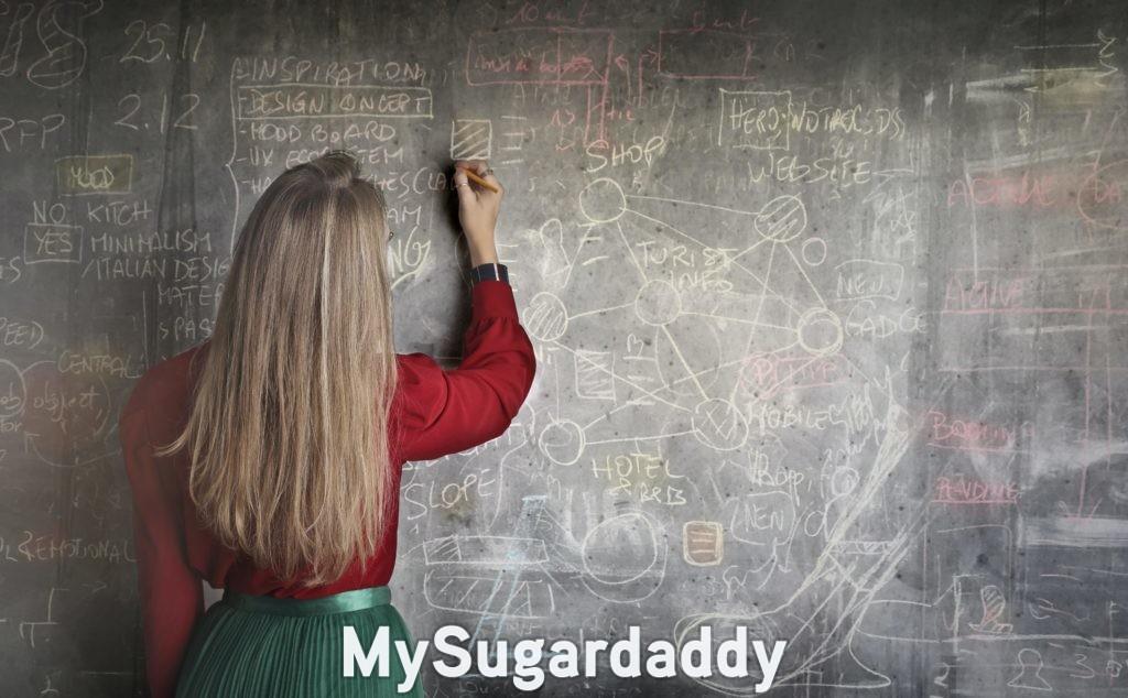 woman calculating on blackboard