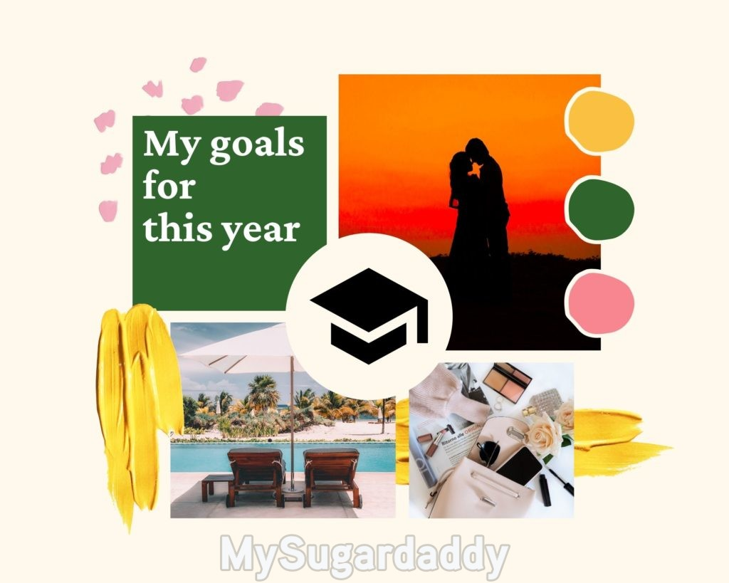 Printable vision board made with Canva.